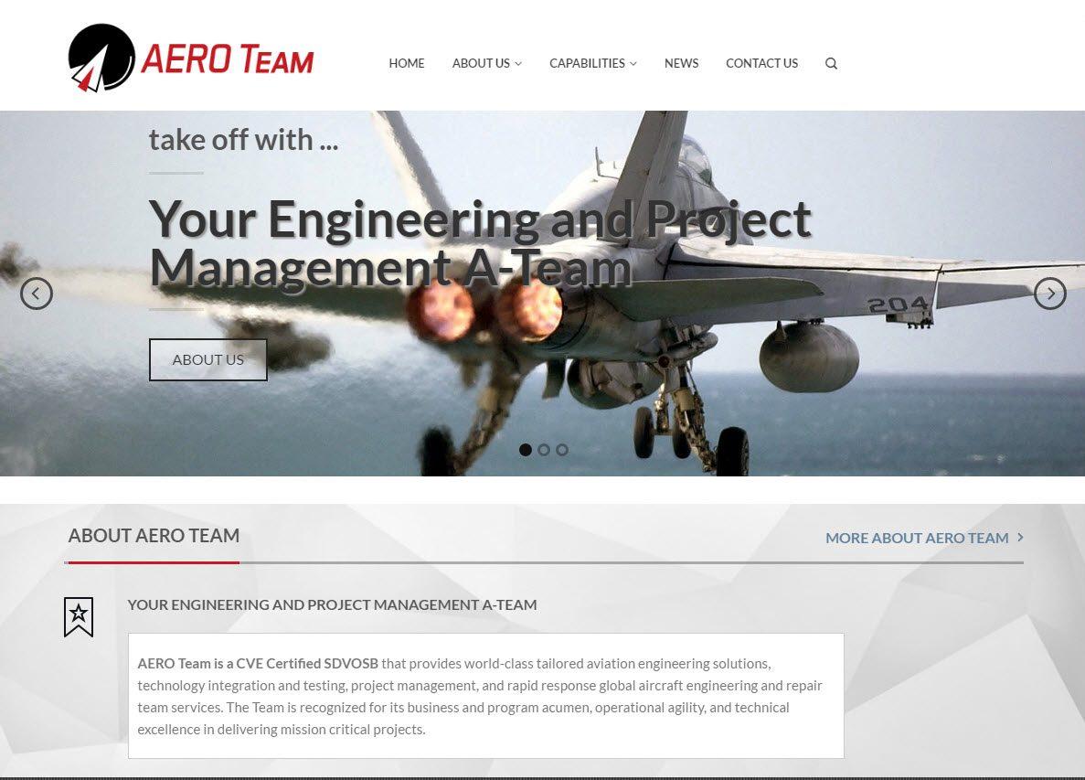 Website design for Aero Team