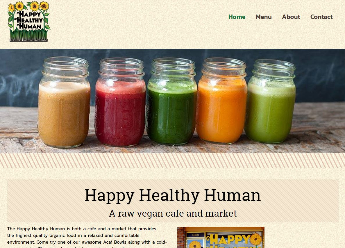 Website refresh for Happy Healthy Human cafe