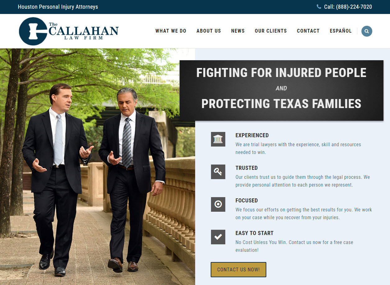 Home page snapshot for The Callahan Law Firm