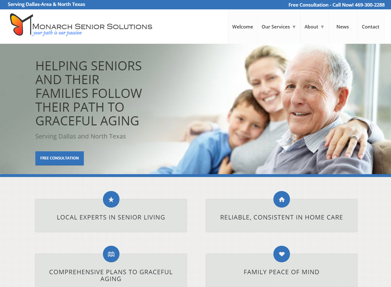 Monarch Senior Solutions home page snapshot