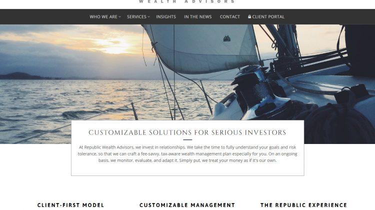 Republic Wealth Advisors Home Page snapshot