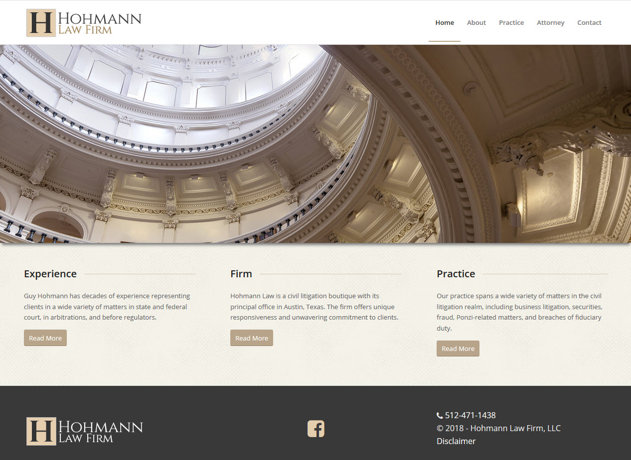 Hohmann Law Firm snapshot of Home page