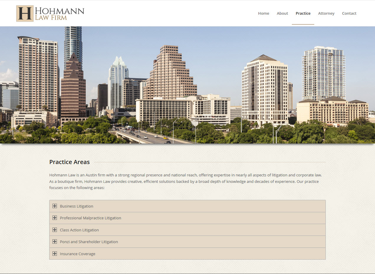 Hohmann Law practice page snapshot